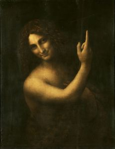 Saint John the Baptist Leonardo da Vinci, 1513-1516 oil on panel, 27 x 22 in. The Louvre photo in public domain from Wikimedia Commns