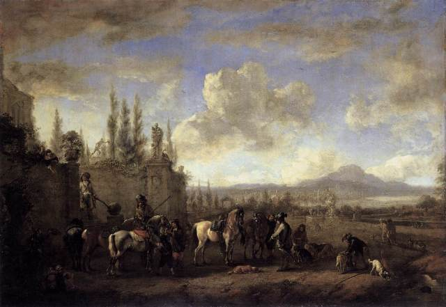 "Setting Out on the Hunt Philips Wouwerman, 1660-1665 oil on oak panel, 18 x 25 "" Gemäldegalerie Alte Meister, Dresden photo in public domain from Wikimedia Commons, source Web Gallery of Art"