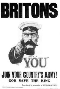Kitchener World War I Recruitment Poster Alfred Leete 1914 photo in public domain from Wikemedia Commons