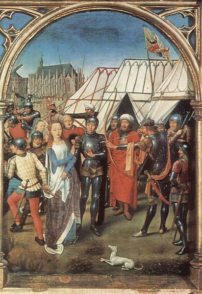 The Martyrdom of St. Ursula Hans Memling, 1489 oil on panel, 15 x 14 in Hans Memling Museum, Bruges, Belgium photo in public domain from the Yorck Project via Wikimedia Commons