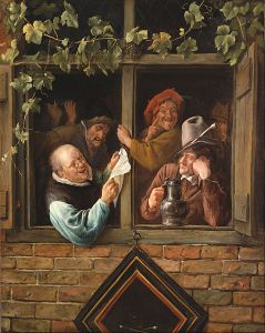 Rhetoriticians at a Window Jan Steen, 1661-1666 Oil on canvas, 30 x 23 in Philadelphia Museum of Art photo in public domain from Wikimedia.org