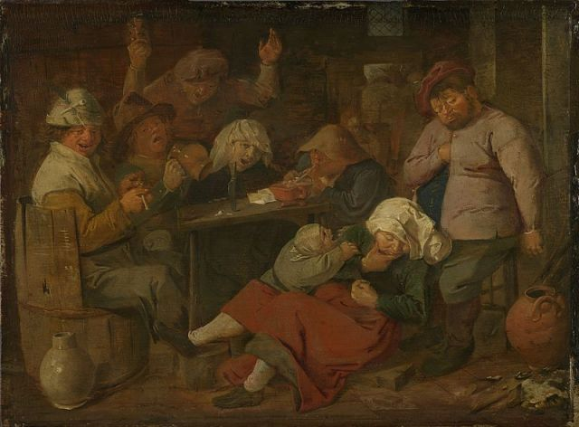 Inn with Drunken Peasants Adriaen Brouwer, 1625-1626 oil on panel, 8 x 10 in Royal Picture Gallery Mauritshuis, The Hague photo in public domain from G. Knuttel Wzn, Openbaar Kunstbezit, vol. IV, no. 9 via Wikimedia Commons