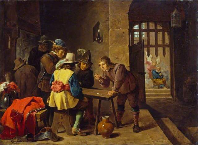 Guardroom Scene with the Deliverance of St. Peter David Teniers, the Younger, 1645-7 oil on copper, 14 x 20 in The Wallace Collection, London photo in public domain from BBC Your Paintings via Wikimedia Commons