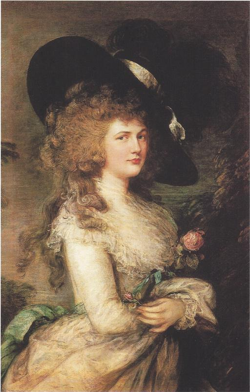 Georgiana, Duchess of Devpnshire Thomas Gainsborough, 1783 oil on canvas, 50 x 40 in Chatsworth House, Derbyshire photo in public domain from wikiarts.org via Wikimedia Commons