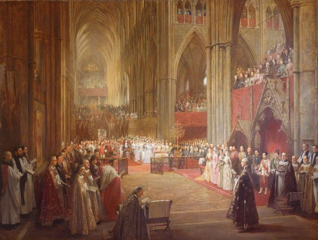 Golden Jubilee Service Westminster Abbey William Ewart Lockhart, 1887 oil on canvas, 92 x 121 in Royal Collection, United Kingdom photo in public domain from Wikimedia Commons
