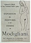 photo of poster for Modigliani's only one-man exhibition, 1917 ©Archives Berthe Weill, in public domain from Wikimedia.org