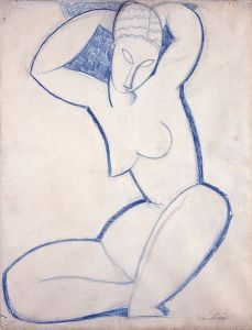 Caryatid Modigliani, 1913-14 pencil and blue crayon on paper, 22 x 16 in Garman Ryan Collecrtion, The New Art Gallery, Walsall photo in public domain from Wikimedia.org