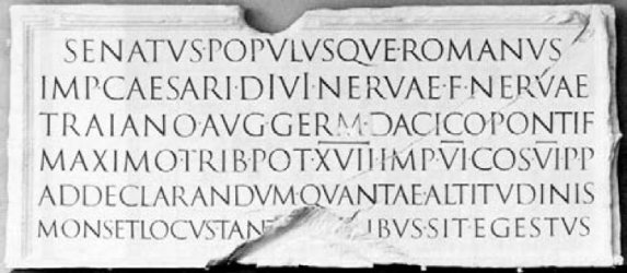 Inscription, base of Trajan's Column 169 A..D. Rome photo by Aulldemolins from Wikimedia Commons by Creative Commons licence