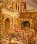 Houses of Parliament Debating Chamber Looking South West, Bomb Damage, 1941 Vivian Charles Hardingham, 1941 oil on hardboard 24 x 20 in Parliamentary Art Collection (c) Palace of Westminster; Supplied by The Public Catalogue Foundation photo from BBC Your Paintings