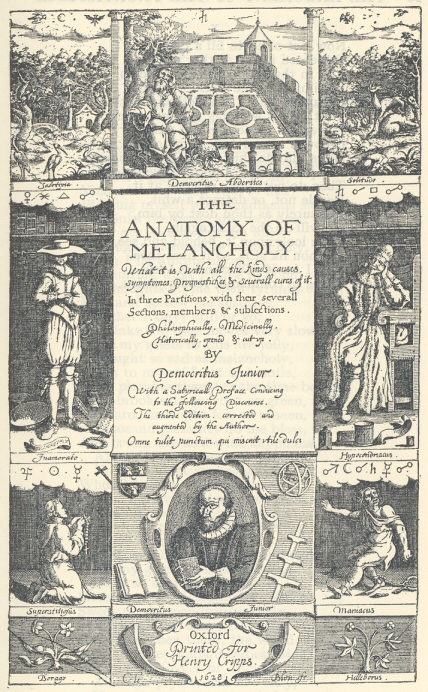 frontispiece The Anatomy of Melancholy Robert Burton original edition, 1621 book in public domain page from ebooks.adelaide.edu