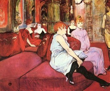 Au Salon de la Rue des Moulins Toulouse-Lqutrec, 1894 oil on canvas, 44 x 52 in Musee Toulouse-Lautrec, Albi photo in the public domain via the Yorck Project and Wikimedia Commons