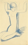 Kneeling Blue Caryatid Modigliani, c. 1911 Blue Crayon, 17 x 11 from www.modigliani_drawings.com