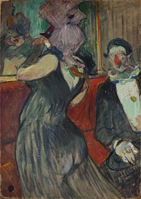 Respite during the Masked Ball Toulouse-Lautrec, 1894 gouache and oil on cardboard, 56 x 39 in Denver Museum of Art photo from National Gallery of Australia