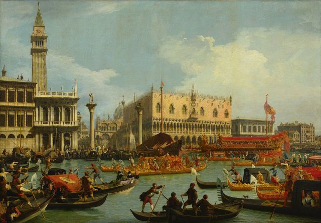 Bucentaur's Return to the Pier by the Palazzo Ducale Canaletto, 1727-1729 The Pushkin Museum photo in public domain from the Google Art Project via Wikimedia Commons