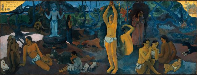 Where do we come from? Who are we? Where are we going? Paul Gaugin, 1897 oil on canvas, 55 x 148 in Museum of Fine Arts, Boston photo in public domain from Wikimedia Commons