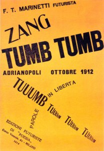 Zang Tumb Tumb Filippo Tomasso Marinetti, 1914 book cover in public domain from Wikimedia Commons