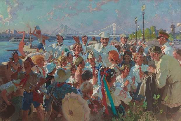 I.V. Stalin and members of the Politburo of the Central Committee of the All-Union Communist Party (Bolsheviks) among children in the M. Gorky Central Park of Culture and Rest in Moscow V.S. Svarog, 1939 oil on canvas 80 x 120 in The State Tretyakov Gallery, Moscow copyright status unknown