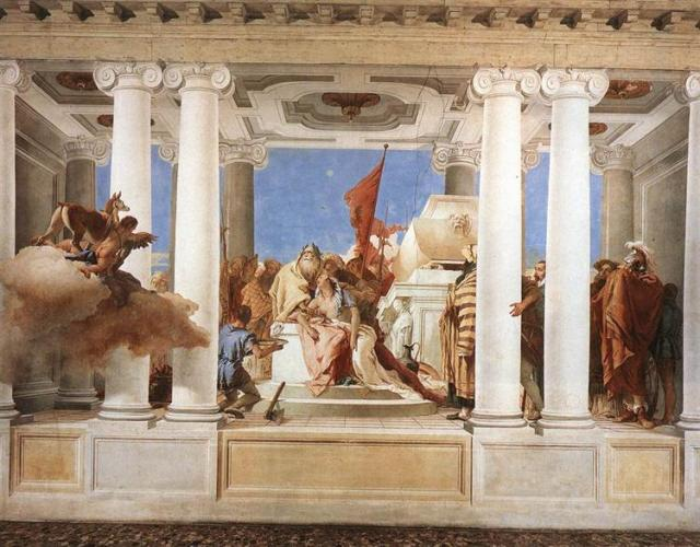 The Sacrifice of Iphigenia Giovanni Tiepolo, 1757 fresco, 140 x 280 inches Villa Val photo in public domain from WikiArt.org