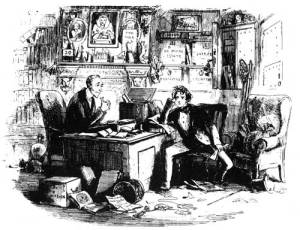 Attorney and Client Halbot Browne (Phiz) 1853 etching from Bleak House Charles Dickens illiustration public domain from David Perdue's Charles DIckens Home Page Copyright © 1997-2016 David A. Perdue, All Rights Reserved
