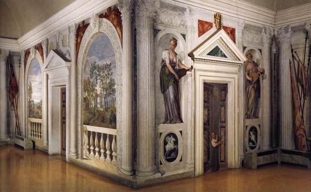 The Cruciform Sala a Crocieta frescos by Paolo Veronese, Villa B photo in public domain from Wikimedia Commons