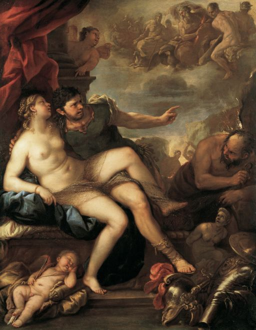 Venus and Mars Luca Giordano, 1670s oil on canvas, 91 x 72 in Academy of Fine Arts, Vienna photo in public domain from Wikimedia Commons