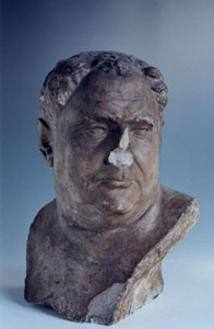 """Vitellio Grimani"" plaster cast, brown paint early sixteenth century copy of bust from second century AD"