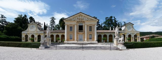 Villa Barbaro, front view Andrea Palladio, architect, 1554-1560 Maser, Treviso, Italy photo from Marcok/wikipedia.it.org via Wikimedia Commons