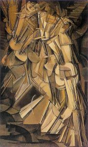 Nude Descending a Staircase, #2 Marcel Duchamp, 1912 oil on canvas 58 x 35 in Philadelphia Museum of Art photo probably in public domain in US from Wikimedia.org but still under copyright in France