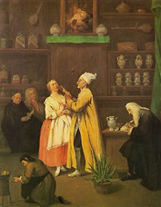 The Pharmacist Pietro Longhi oil on canvas 24 x 19 in Gallerie dell'Accademia, Venice