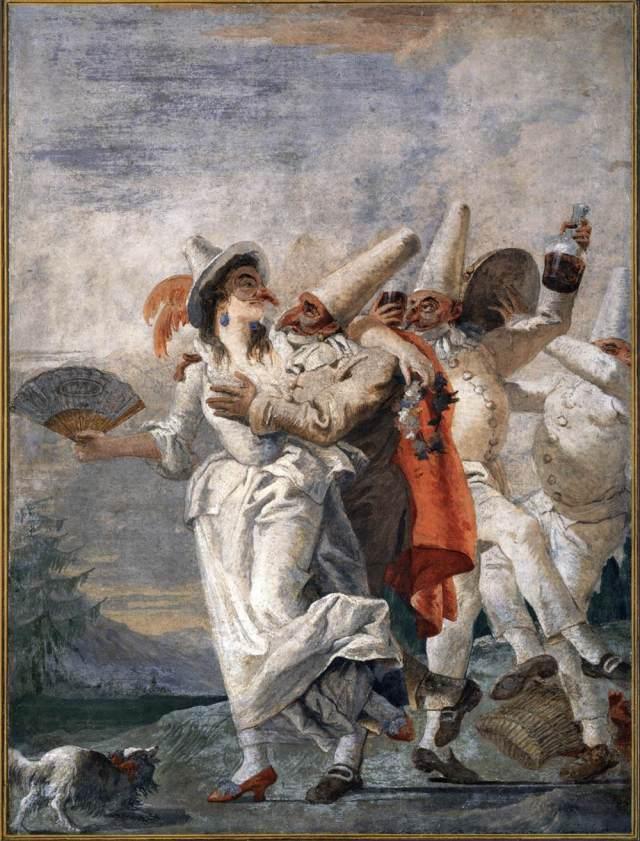 Punchinello in Love Gian Domenico Tiepolo ,1759-1797 detached fresco Ca' Rezzonico, Venice photo public domain from Web Gallery of Art