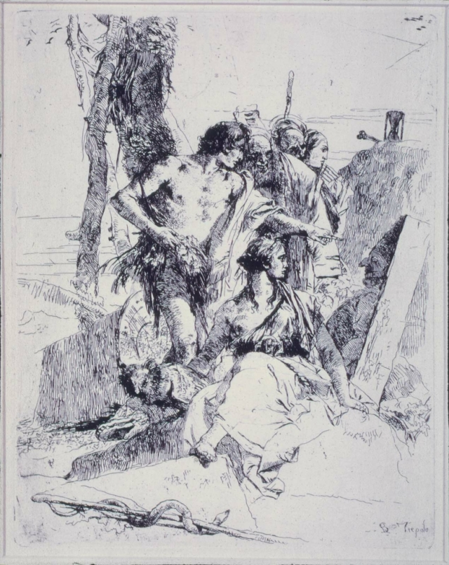 Figures Regarding an Effigy of Punchinello from series Scherzi di Fantasia Gianbattista Tiepolo etching this copy from Museum of Fine Arts, Boston