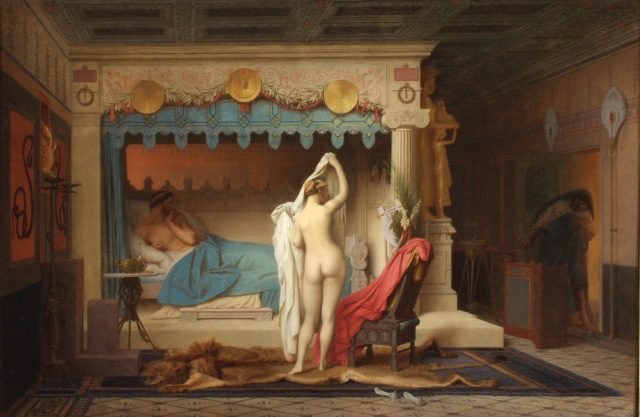 King Candaules Jean-Léon Gérôme, 1859 oil on canvas, 26 x 39 in Museum of Art on Ponce photo in public domain from Wikimedia Commons