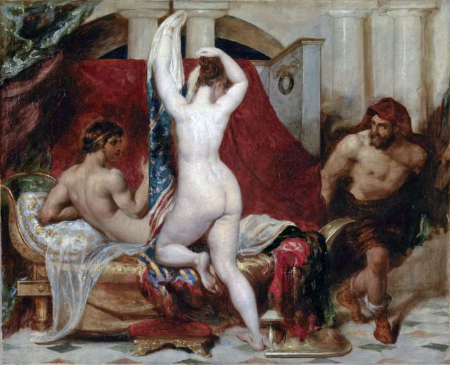Candaules, King of Lydia, Shews his Wife by Stealth to Gyges, One of his Ministers, As She Goes to Bed William Etty, 1820 photo in public domain from Wikimedia Commons