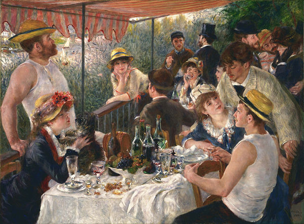 Luncheon of the Boating Party Pierre Auguste Renoir, 1880-81 oil on canvas, 51 x 69 in The Phillips Collection, Washington, DC photo in public domain from Wikimedia Commons via the Google Art Project