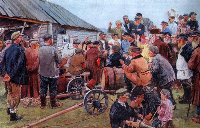 Elections of the Committee of Poor Peasants Arkady Plastov, 1940 photo listed as public domain in Wikimedia Commons, but copyright status unclear since Plastov died in 1970
