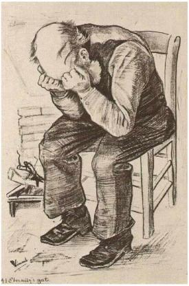 Old Man with His Head in His Hands Vincent Van Gogh, 1882 ransfer lithography, printed in black ink, crayon, brush and autographic ink, 22 x 15 in The Tehran Museum of Contemporary Art (and elsewhere) photo in public domain from Wikimedia Commons