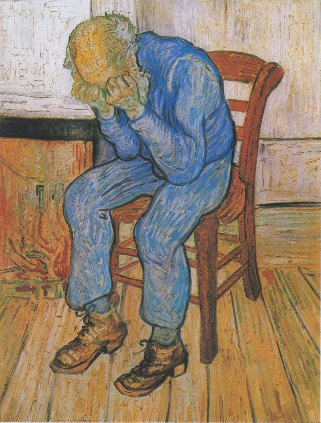 Sorrowing Old Man (At Eternity's Gate) Vincent Van Gogh, 1890 oil on canvas, 32 x 26 in Kroller-Muller Museum photo in public domain from Wikimedia Commns