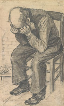 Worn Out Vincent Van Gogh, 1880 pencil on watercolor paper, 20 x 12 in Van Gogh Museum, Amdsterdam photo in public domain from Wikimedia Commons