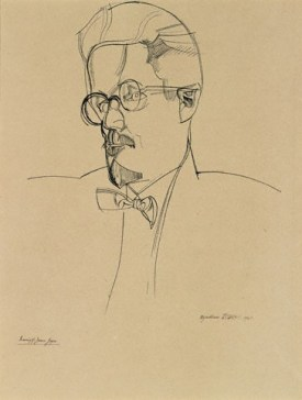 James Joyce Wyndham Lewis, 1921 National Gallery of Ireland, Dublin photo from National Portrait Gallery © The Estate of Mrs G.A. Wyndham Lewis: The Wyndham Lewis Memorial Trust
