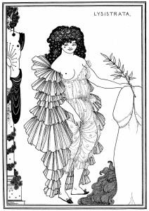 Lysisstrata Aubrey Beardsley, 1896 plate I, 12 x 9 in from ebooks.adelaide.edu.au