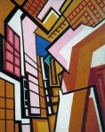 Workshop Wyndham Lewis, ~1914-15 oil on canvas, 31 x 24 in The Tate Britain, London from Tate Online via Wikimedia Commons ©The estate of Wyndham Lewis and the Estate of Mrs G Wyndham Lewis and the Estate of Mrs G A Wyndham Lewis