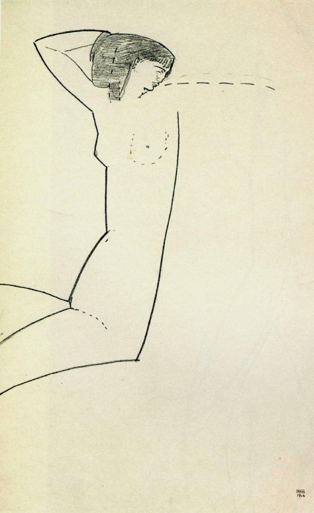 Anna Amedeo Modigliani, 1911 black crayon 16 3/4 x 10 3/8 in from 'The Unknown Modigliani' by Noël Alexandre reproduced at richardnathanson.co.uk