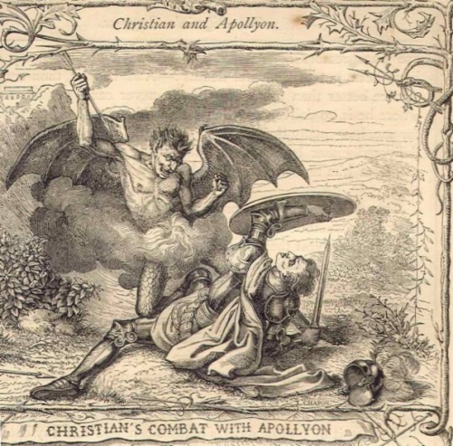 Christian's Combat with Apollyon The Pilgrim's Progress H.C. Selous and M. Paolo Priolo, circa 1850.