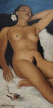 "Reclining Female Nude Adrian Daintrey oil on canvas, 36 x 17 "" list at Invaluable.com copyright status unknown"