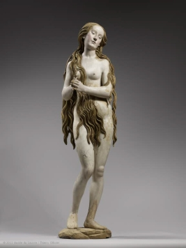 Sainte Mary Magdalene Gregor Erhart, 1515-1520 lime tree wood, polychrome, 71 x 18 x 17 in Louvre Museum c Musee de Louvre, 2011, Thierry Ollivier