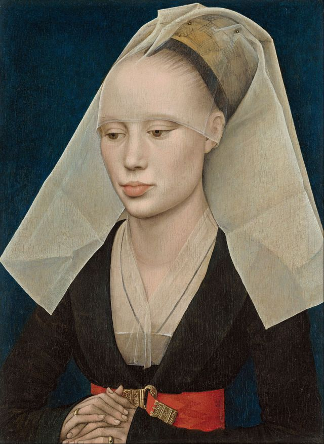 Portrait of a Lady Rogier van der Weyden, ~1460 oil on panel, 13 x 10 in National Gallery of Art, Washington photo in public domain for Google Art Project via Wikimedia Commons