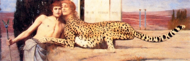 The Sphinx or The Caress Fernand Khnopff, 1896 oil on canvas, 20 x 59 in Musées Royaux des Beaux-Arts, Brussels The Yorck Project via Wikimedia Commons