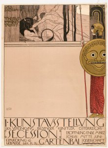 Poster for Secession I Gustav Klimt, 1898 color lithograph, 39 x 28 in Museum of Modern Art, NY photo from nyarc.org