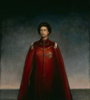 Her Majesty in Robes of the British Empire Pietro Annigoni, 1969 Tempera grassa on paper on panel. 79 x 71 in. National Portrait Gallery, London. Copyright, The National Portrait Gallery photo from Wikimedia Commons