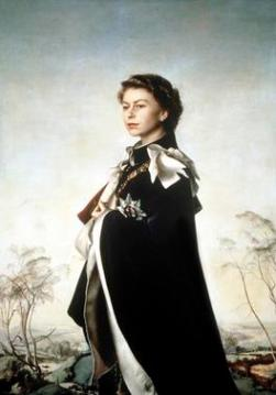 Queen Elizabeth II, Queen Regent Pietro Annigoni, 1955 Tempera, oil and ink on paper Fishmongers' H' copyright The Fishmonger's Co. photo from Wikimedia Commons